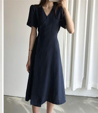 Load image into Gallery viewer, Women's Summer Dresses Casual V-Neck High Waist Solid Vintage Fashionable Lace Up Elegant Buttons Long Dress