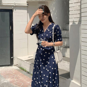 Women Dress Floral V-Neck High Waist Puff Sleeve Casual Fashionable Vintage Lace Up One Piece Long Dress