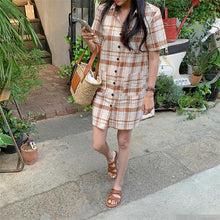 Load image into Gallery viewer, Summer Women's Dresses Plaid High Waist Vintage Pockets Casual Fashionable Korean Style Loose Wild Mini Dress