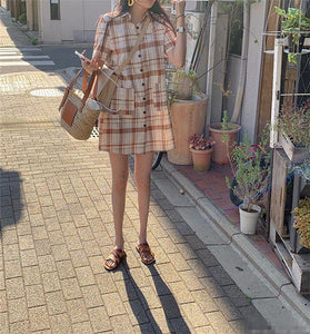 Summer Women's Dresses Plaid High Waist Vintage Pockets Casual Fashionable Korean Style Loose Wild Mini Dress