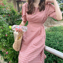 Load image into Gallery viewer, Women's Dresses Square Collar Plaid High Waist Vintage Casual Fashionable Lace Up Sweet Pink Long Dress