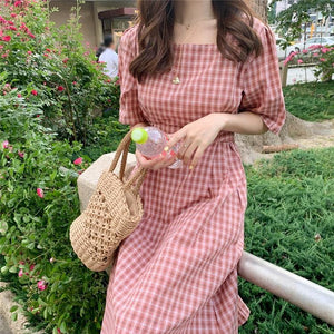 Women's Dresses Square Collar Plaid High Waist Vintage Casual Fashionable Lace Up Sweet Pink Long Dress
