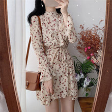 Load image into Gallery viewer, Women Summer Dresses Casual Stand Collar Chiffon Print Floral High Waist Pagoda Sleeve Lace Up Sweet Mini Dress