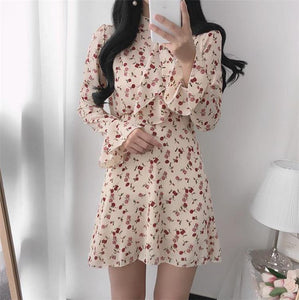 Women Summer Dresses Casual Stand Collar Chiffon Print Floral High Waist Pagoda Sleeve Lace Up Sweet Mini Dress
