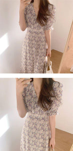 Women Summer Dress V-Neck Casual Puff Sleeve Print Floral High Waist Vintage Chiffon Lace Up Elegant Long Dress