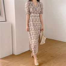 Load image into Gallery viewer, Women Summer Dress V-Neck Casual Puff Sleeve Print Floral High Waist Vintage Chiffon Lace Up Elegant Long Dress