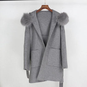 Real Fur Coat Winter Jacket Women Loose Natural Fox Fur Collar Cashmere Wool Blends Outerwear Streetwear Oversize