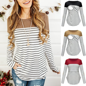 Winter Fashion Striped MIX color long sleeve nursing top breastfeeding clothing for pregnant women