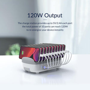 10 Ports USB Charger Station Dock Free with 10 Cables 120W 5V2.4A*10 USB Charging for Home Public