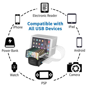 10 Ports USB Charging Station with Phone Holder 120W Desktop Charger for Tablets Kindle Fast Charging Dock