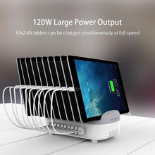 Load image into Gallery viewer, 10 Ports USB Charging Station with Phone Holder 120W Desktop Charger for Tablets Kindle Fast Charging Dock