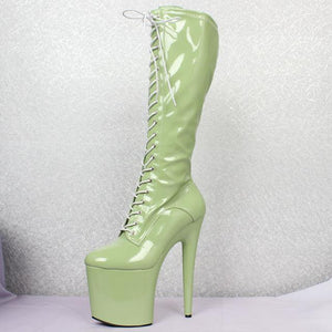 Women sexy fashion shoes Lace-up Knee-High platform thigh high boots white Stiletto Zip leather thin high-heel boots