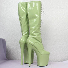 Load image into Gallery viewer, Women sexy fashion shoes Lace-up Knee-High platform thigh high boots white Stiletto Zip leather thin high-heel boots
