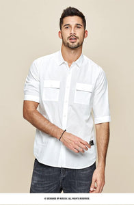 Men's short sleeve shirt spring  Men's leisure fashion simple tooling shirt  summer top