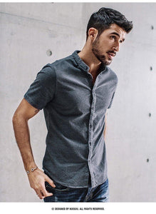 100% cotton Men's shirt summer Chinese style shirt for men  fashion leisure short-sleeved shirt man top