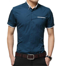 Load image into Gallery viewer, Summer Short Sleeve Business Casual Men Shirt Fit Slim Social Cotton Grid Homme  Camisas Plus Size Male Shirt - moonaro