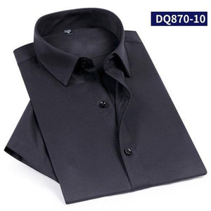 Short Sleeve Bamboo fiber Social Shirts for Male Summer Cool breathable Elastic  solid plain men dress shirts  Pocketless tops