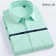 Load image into Gallery viewer, Men's Twill Short Sleeve Dress Shirts Formal Regular Fit Summer Cool striped Casual Shirts for Male Easy Care Pocket mens Shirts