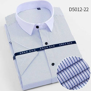 Men's Twill Short Sleeve Dress Shirts Formal Regular Fit Summer Cool striped Casual Shirts for Male Easy Care Pocket mens Shirts