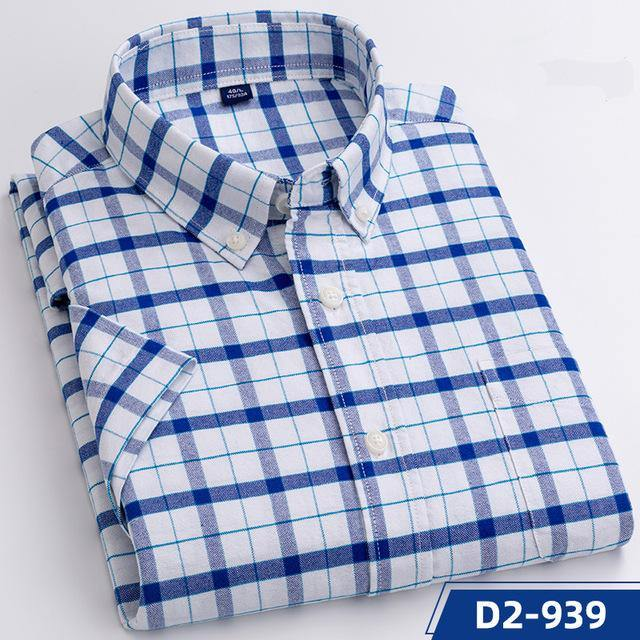Thin Soft Washed Cotton Leisure Mens' Short-Sleeved Plaid Shirts Casual Front Pocket Slim Fit Business Male Tops Gift for Boys
