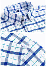 Load image into Gallery viewer, Thin Soft Washed Cotton Leisure Mens' Short-Sleeved Plaid Shirts Casual Front Pocket Slim Fit Business Male Tops Gift for Boys