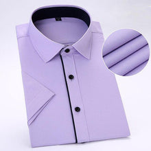Load image into Gallery viewer, Summer short sleeve  Male Shirts  twill  pocketless business men social dress shirts slim fit soft comfortable