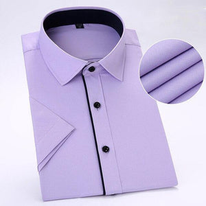 Summer short sleeve  Male Shirts  twill  pocketless business men social dress shirts slim fit soft comfortable