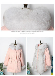 Long Parkas Winter Jacket Women Real Fur Parka Natural Fox Fur Liner Duck Down Coat Double Face Wear Streetwear
