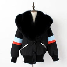 Load image into Gallery viewer, winter jacket women real natural fur coat loose fox fur collar black short parka outwear high quality clothing
