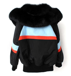 winter jacket women real natural fur coat loose fox fur collar black short parka outwear high quality clothing