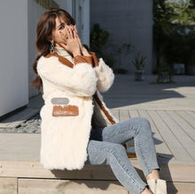 Load image into Gallery viewer, Autumn Winter Jacket Women Real Fur Coat Natural Rabbit Fur Outerwear PU Leather Blazers New Fashion Streetwear