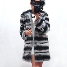 Load image into Gallery viewer, Real Fur Coat Winter Jacket Women Natural Rex Rabbit Fur Hood Thick Warm Streetwear Outerwear Thick Warm Striped
