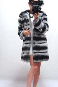 Real Fur Coat Winter Jacket Women Natural Rex Rabbit Fur Hood Thick Warm Streetwear Outerwear Thick Warm Striped