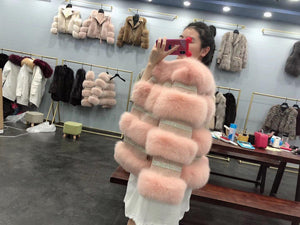 Fashion Real Fur Coat Winter Jacket Women Natural Fox Fur Diamonds Thick Warm Outerwear Streetwear Luxury