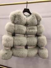 Load image into Gallery viewer, Fashion Real Fur Coat Winter Jacket Women Natural Fox Fur Diamonds Thick Warm Outerwear Streetwear Luxury