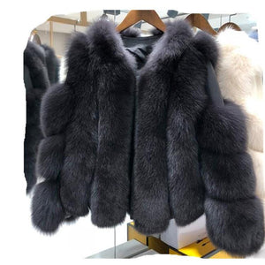 Real Fox Fur Coat Winter Jacket Women Natural Fox Fur Thick Warm Streetwear Brand Luxury Outerwear Casual Fashion