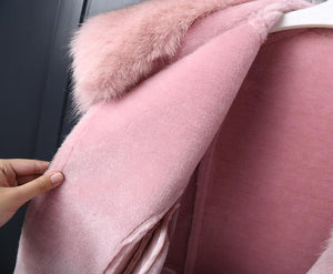 Real Fur Coat Winter Jacket Women Natural Fox Fur Collar Real Wool Fur Liner PU Faux Leather Thick Warm Streetwear