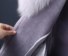 Load image into Gallery viewer, Real Fur Coat Winter Jacket Women Natural Fox Fur Collar Real Wool Fur Liner PU Faux Leather Thick Warm Streetwear