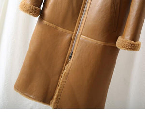 Real Fur Coat Winter Jacket Women Natural Merino Sheep Fur Genuine Leather Long Outerwear Thick Warm Streetwear