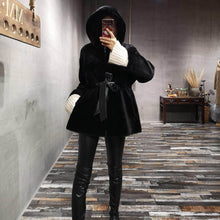 Load image into Gallery viewer, Double-faced Fur Coat hood Winter Jacket Women Real Merino Sheep Fur Genuine Leather Belt Warm Streetwear Outerwear