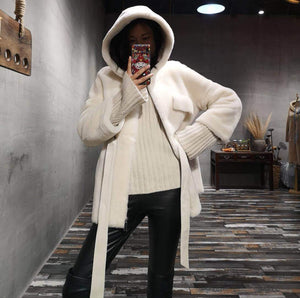 Double-faced Fur Coat hood Winter Jacket Women Real Merino Sheep Fur Genuine Leather Belt Warm Streetwear Outerwear