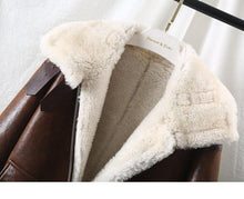 Load image into Gallery viewer, Winter Jacket Women Real Fur Coat Natural Merino Sheep Fur Genuine Leather Outerwear Streetwear Thick Warm