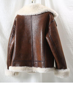 Winter Jacket Women Real Fur Coat Natural Merino Sheep Fur Genuine Leather Outerwear Streetwear Thick Warm