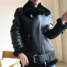 Load image into Gallery viewer, Real Merino Sheep Fur Genuine Leather Double-faced Fur Coat Winter Jacket Women Moto Biker Thick Warm Natural Luxury