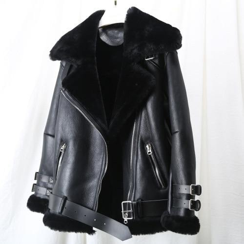 Real Merino Sheep Fur Genuine Leather Double-faced Fur Coat Winter Jacket Women Moto Biker Thick Warm Natural Luxury