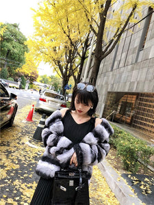 Winter Jacket Women Real Fur Coat Natural Rex Rabbit Fur Outerwear Casual Streetwear Brand Luxury Turn Down Collar