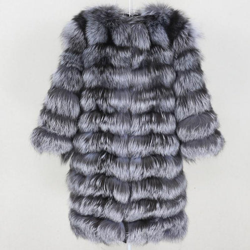Winter Jacket Women Long Real Fur Coat Natural Big Fluffy Fox Fur Outerwear Streetwear Thick Warm Three Quarter