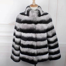 Load image into Gallery viewer, Winter Jacket Women Real Fur Coat Natural Rex Rabbit Fur Outerwear Brand Luxury Thick Warm Streetwear Stand Collar