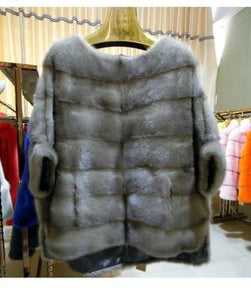 autumn winter jacket women natural real mink fur coat thick warm loose streetwear outerwear half Batwing Sleeve