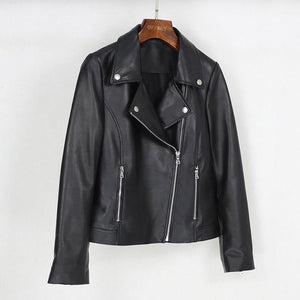 Spring Genuine Leather Jacket Women Fashion Real Sheepskin Coat Motorcycle Biker Jacket Female Sheep Outerwear - moonaro
